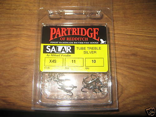 10 Mikael frodin Partridge X4S SILVER SALAR SALMONE TUBO FLY triplicare GANCI Taglia 11