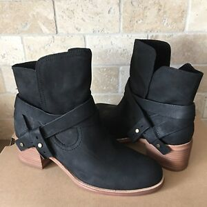 UGG ELORA LEATHER BLACK ANKLE HEEL BOOTS BOOTIES SIZE US ...