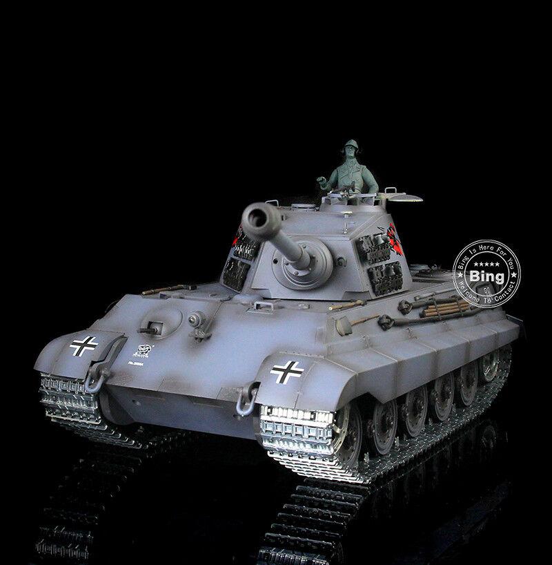 Henglong 1/16 GERMAN KING TIGER HENSCHEL RC RTR SERBATOIO aggiornato in Metallo Blu 3888AB