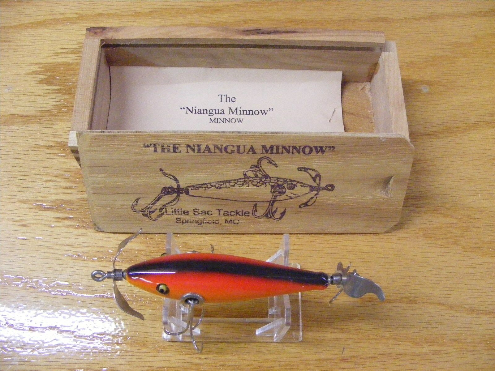 Little  Sac Bait Co Niangua Minnow Glasseye Lure in Rainbow color Wood Box  free shipping!