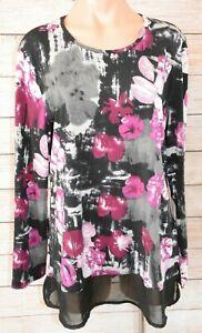 Noni-B-Tunic-Top-Blouse-Purple-White-Black-Floral-Size-XL
