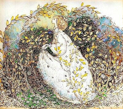 Autumn Postcard:Vintage repro Golden Haired Woman Surrounded by Yellow Leaves