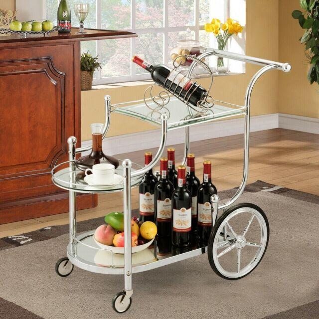 Tea Serving Bar Cart On Wheels Gl Shelves Metal Kitchen Wine Holder