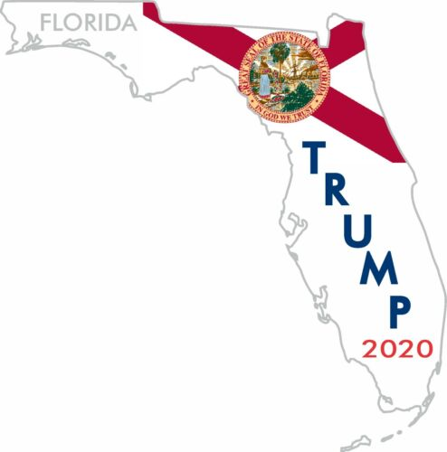 2 TRUMP STICKERS FLORIDA STATE 2020 POLITICAL BUMPER WINDOW DECAL