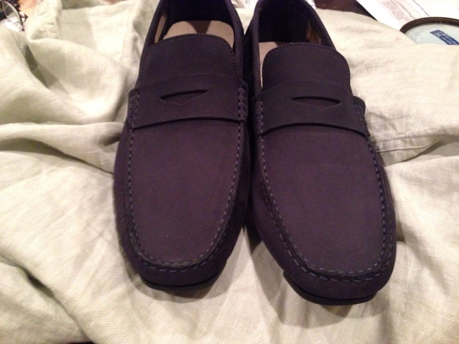 LOVITO Blue suede  Driving Loafers Moccasins New 11 US 44 Euro