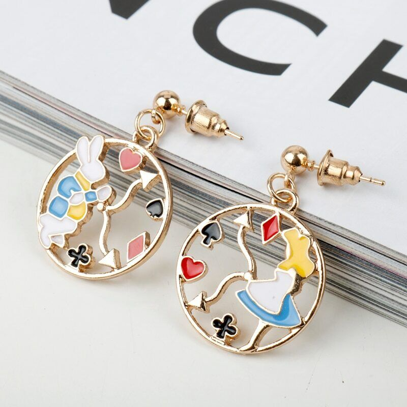 Alice In Wonderland Rabbit and Alice Enamel Round Earrings gold Tone