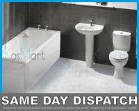 White Bathroom Wc Water Closet Room Suite Includes Bath, Basin, Toilet, Taps