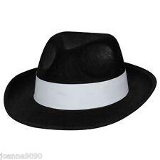 FELT BLACK GANGSTER HAT MOB TRILBY FANCY DRESS COSTUME AL CAPONE JACKSON