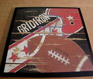 "13x13"" Grid Iron Football Sport Wooden Wall Art Boys Bedroom Sports Decor Sign"