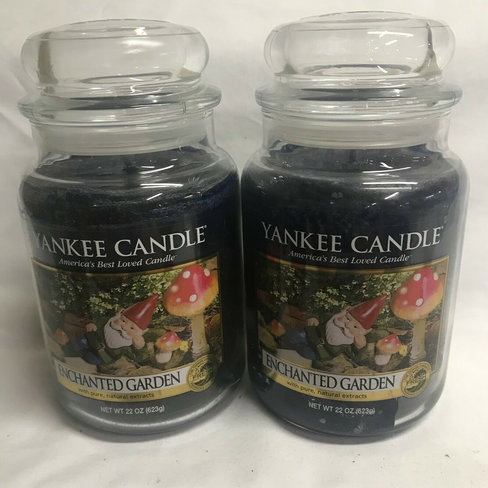 Yankee Candle Lot of (2) ENCHANTED GARDEN Large 22 oz Jar Candles TWO
