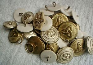 30-SMALL-SILVER-amp-WHITE-PLASTIC-AUSTRALIAN-MILITARY-2-CM-BUTTONS-NAVY