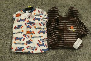 NEW-Carter-039-s-Baby-Boys-2-Piece-Lot-Footed-Fleece-Blanket-Sleepers-6-Months-NWT