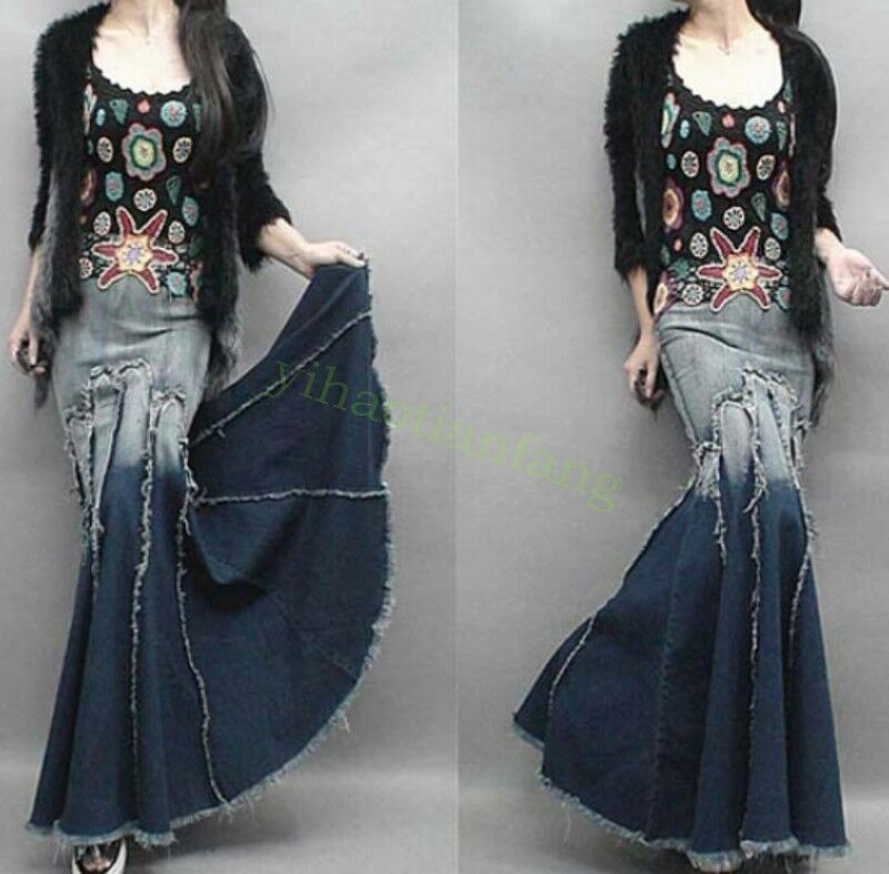 HOT NEW Slim Fit Womens Fishtail Skirt Long Denim Casual Jeans Tassel Ball Gown