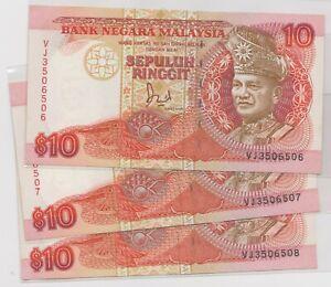Mazuma *M1205 Malaysia 6th $10 VJ3506507-508 3 Running UNC