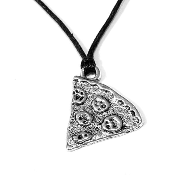 Pizza Slice Charm Pendant Choker Necklace Jewellery with Black Cord