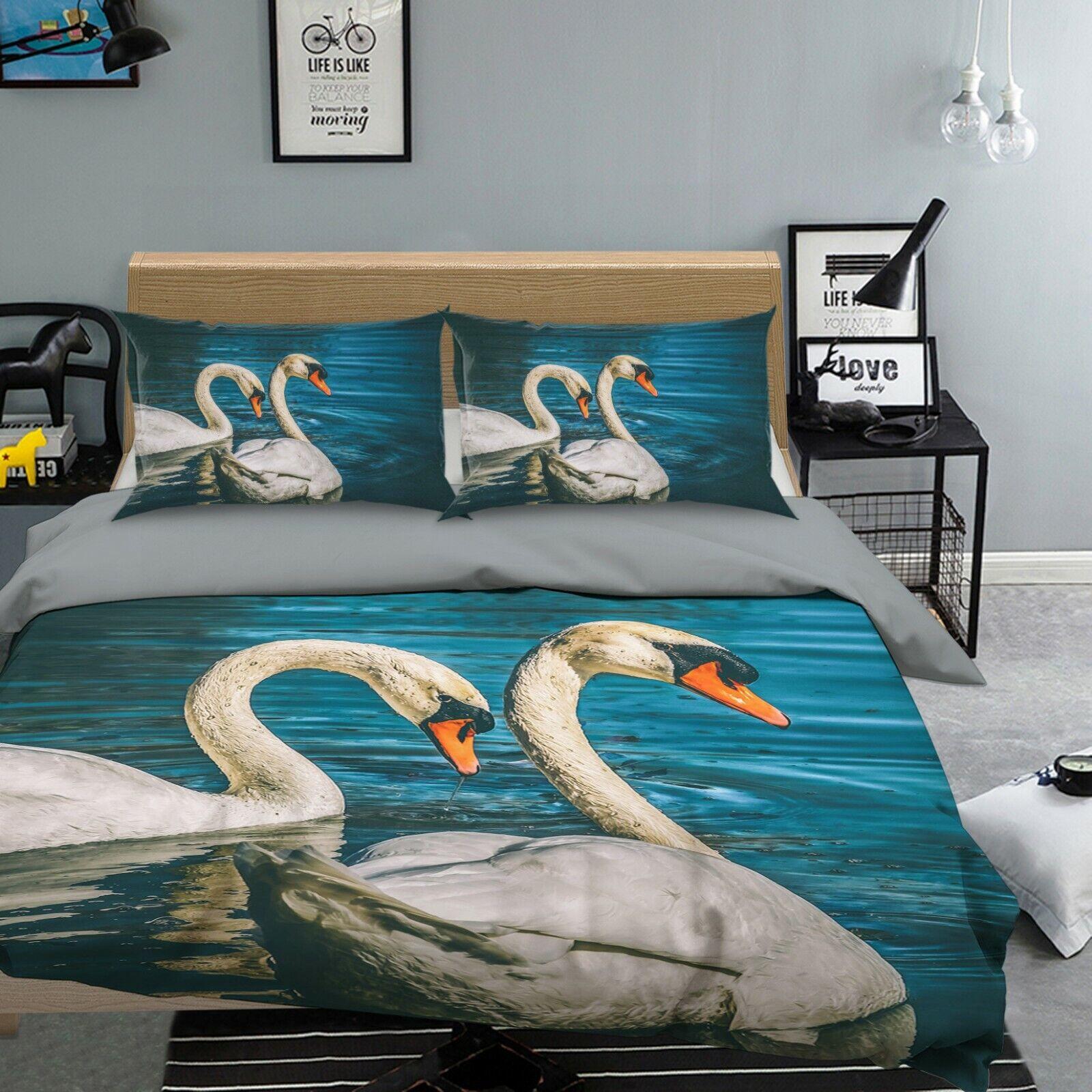 3D Swan H98 Tier Bett Kissenbezüge Decke Bettdecke Abdeckung Set Angelia