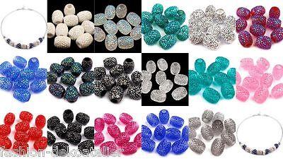 Großlochperlen oval Perlen basteln auffädeln Schmuck herstellen ver.Farbe