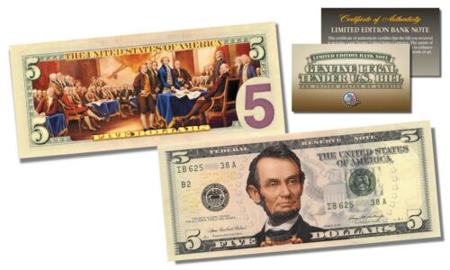 2-Sided Colorized Genuine Legal Tender US $5 Bill Declaration of Independence