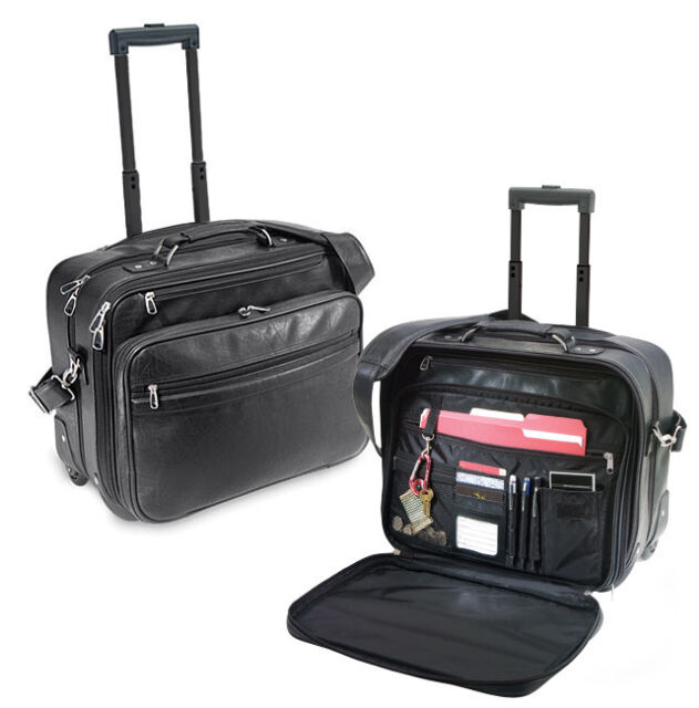 Churchill Koskin Leather Rolling Laptop Computer Bag Wheeled Business Briefcase