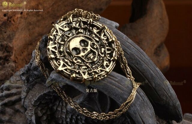 Jack Sparrow Aztec Bronze Coin Pendant Necklace Pirates of the Caribbean Fans
