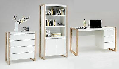 Frame Contemporary Office Furniture White and Oak Desk/Drawer Units/Bookcase