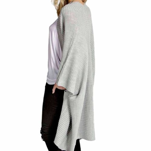 Womens Ladies Oversized Pocket Baggy Knitted Jumper Cardigan Cape Fashion Top
