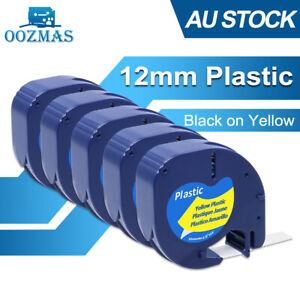5x Compatible Dymo LetraTag 91202 Black on Yellow 12mm x 4m LT-100H LT-100T