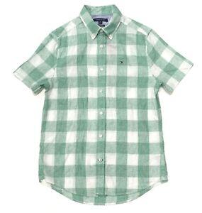 2048e26a Tommy Hilfiger Men's Custom Fit Check Short Sleeve Linen Shirt In ...