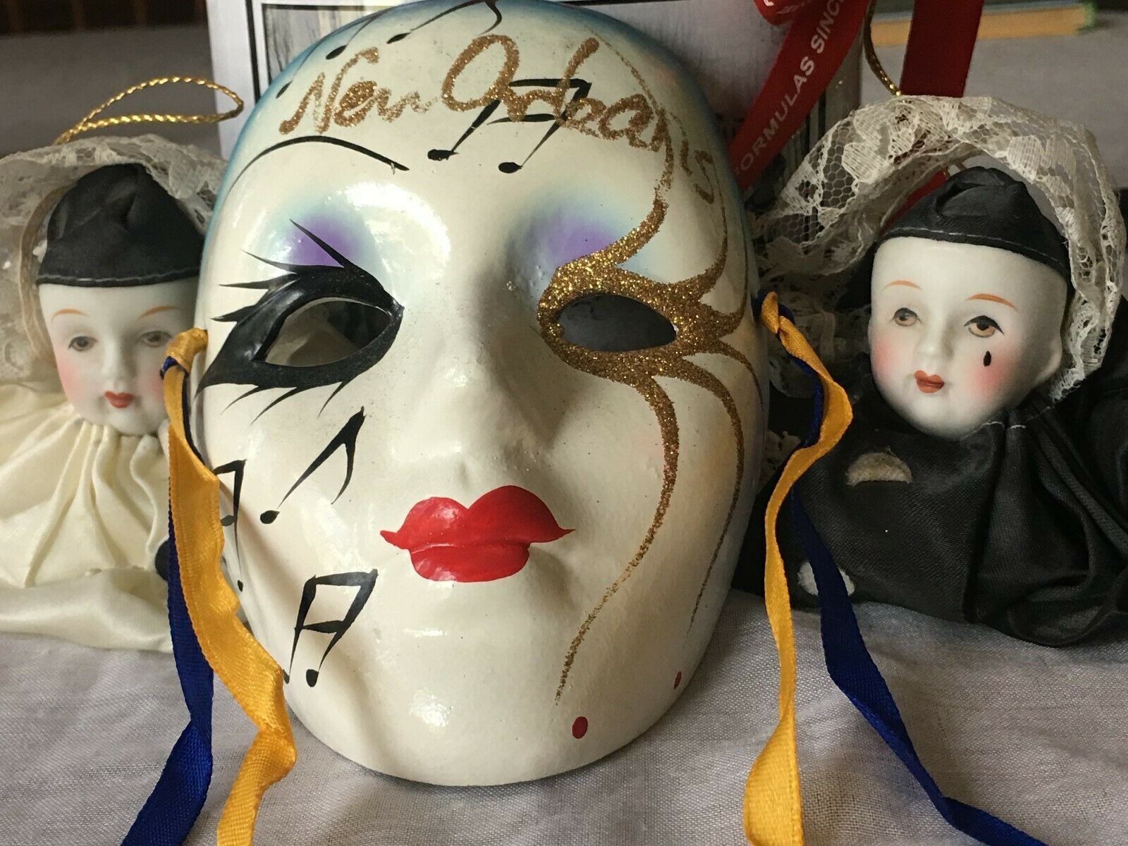 3 Ceramic Porcelain Face Masks with 1 C.O. Bigelow Apothecaries container