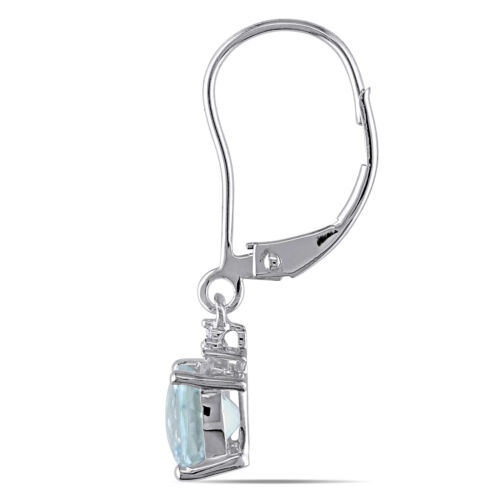 Amour 10k White Gold Aquamarine Leverback Earrings with Diamonds