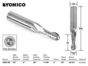 "3/8"" Dia. 2 Flute Ball Nose CNC Router Bit - 1/2"" Shank - Yonico 34251-SC"