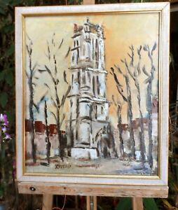 tableau-huile-sur-toile-signee-HUSSON-034-Paris-La-tour-St-Jacques-034-034