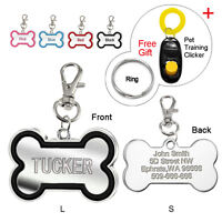 Bone Shape Custom Dog Tags Personalized Engraved Cat Pet ID Tag Free Clicker S L