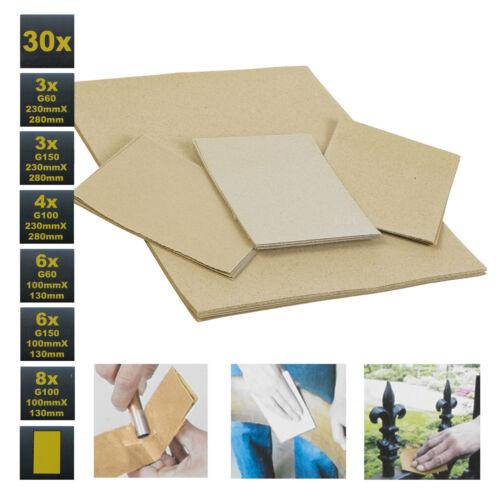 30 x KINZO humide et sec de papier de verre feuilles formats variés cours moyen fine Grits