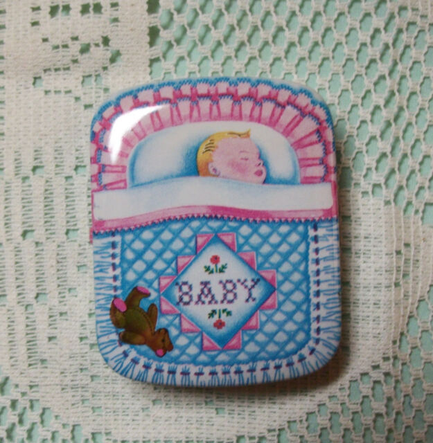 Vintage DODO DESIGNS England Tin Pillbox Trinket Box - Baby Sleeping