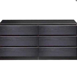 Details about Bedroom Dresser Chest of Drawers Black Wood Grain 6 Drawer  Organizer Low Rise