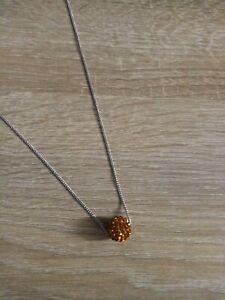 Collier pendentif boule Shamballa DISCO cristal orange + chaine