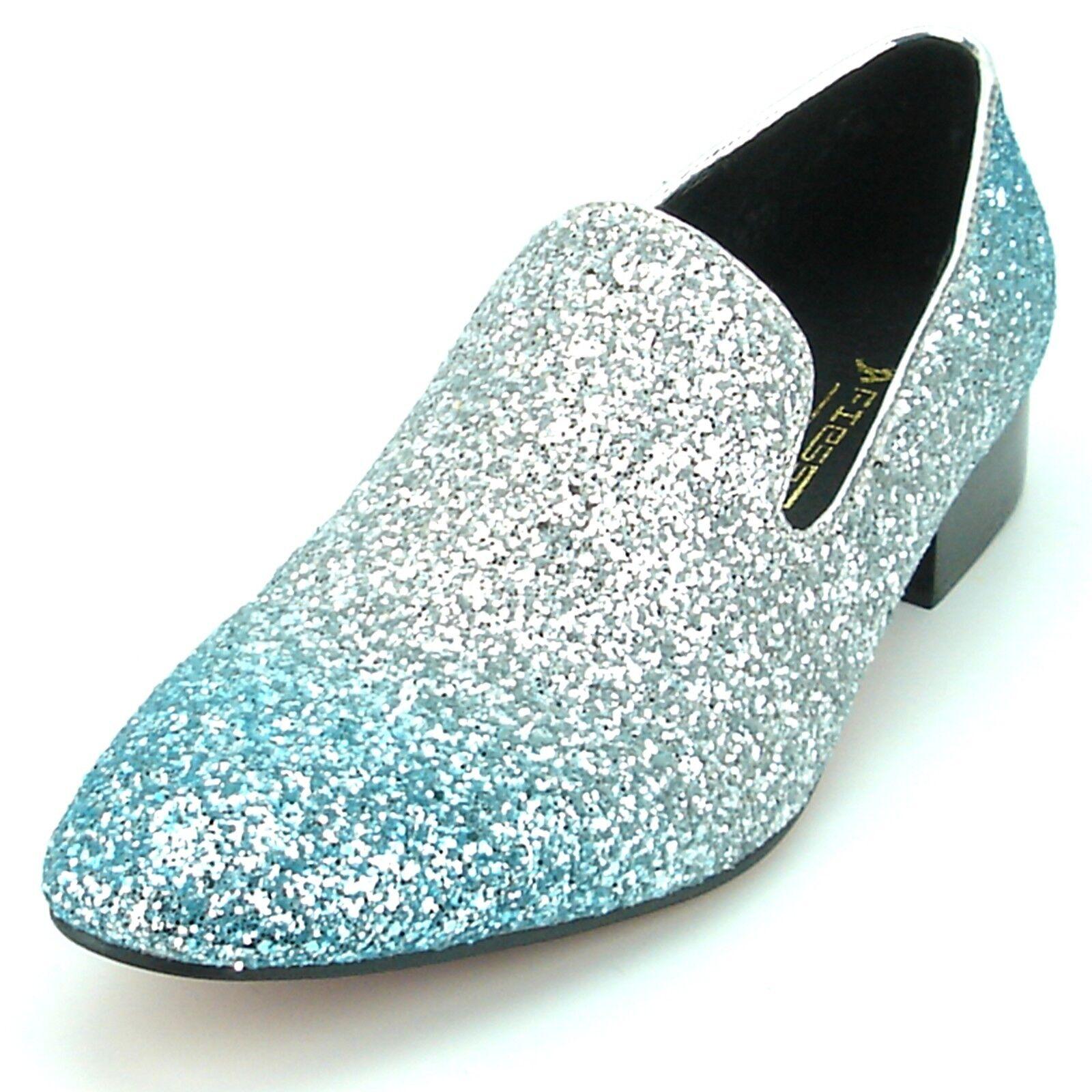 FI-7156 argent bleu Glitter Slip On Mocassin FIESSO par Aurelio Garcia