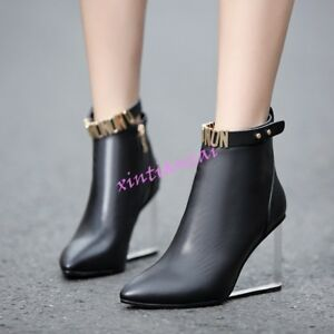Heels Strapyankle Toe Zipper Wedge Leather Transparent Ankle Pointy Womens Boots wp48qXxFn