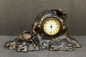 Magnificent Japanese Meiji Bronze Mixed-metal Okimono -Table Clock
