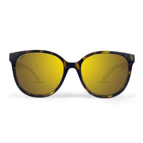 Epoch Kamryn Ladies Designer Sunglasses Tortoise Frame Gold Mirror Lens w Case