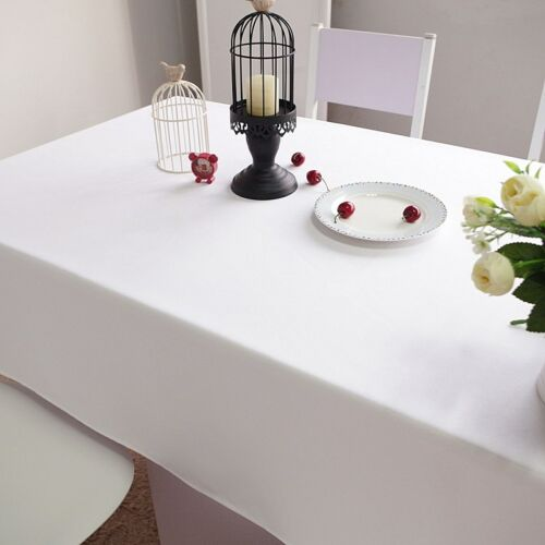 BULK 137x280cm Premium Poly Table Cover Thick Medium Rectangle White Table Cloth