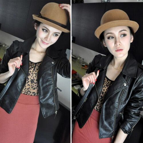 Womens PU Leather Zip Up Biker Jacket Slim Motorcycle Coat Punk Outwear Winter