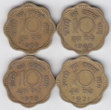 India - Ten ( 10 ) Paise Brass Coin Set - 4 Years (  1968, 69, 70, 71 )