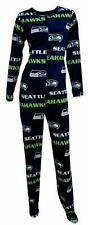 NFL Licensed Seattle SEAHAWKS Fleece One-Piece Footed Fleece Pajamas Wms M NWT