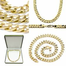 "UK Chunky Mens 20"" Inch Solid Curb Chain Necklace 14k Realistic Gold Plated 10mm"