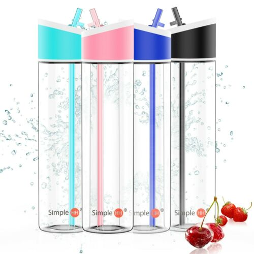 621ml BPA Free Sports Water Bottle with Flip  Cap//Straw 2-Pack Simple HH 21oz