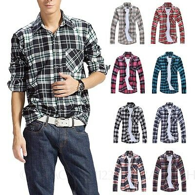 Mens Cotton Blends Shirts Long Sleeve Check Shirt Unisex Plaid Top Size XS-L