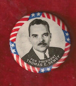 "THOMAS DEWEY 1 1/4"" CELLULOID PICTURE PINBACK"