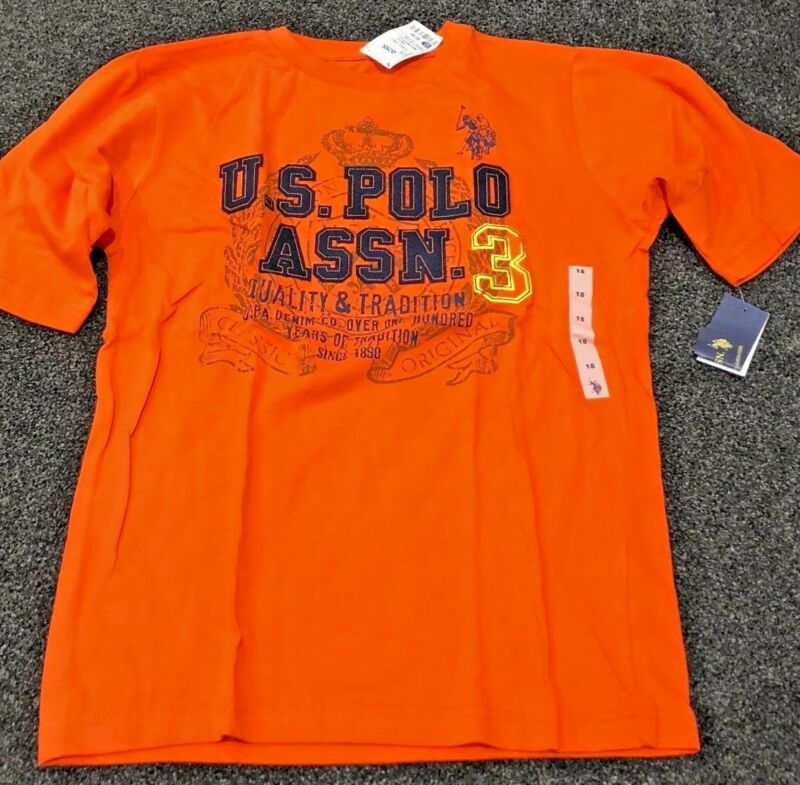 Boys Size18 Us Polo Assn Short Sleeve Shirt / Top- Bnwt- P/up Sutherland Or Post